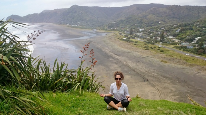 Zenning out on top of Lyon Rock at Piha Beach. The sand isn't dirty, it's black from lava fragments. Which is what happens when you build your town on a goddamn volcano.